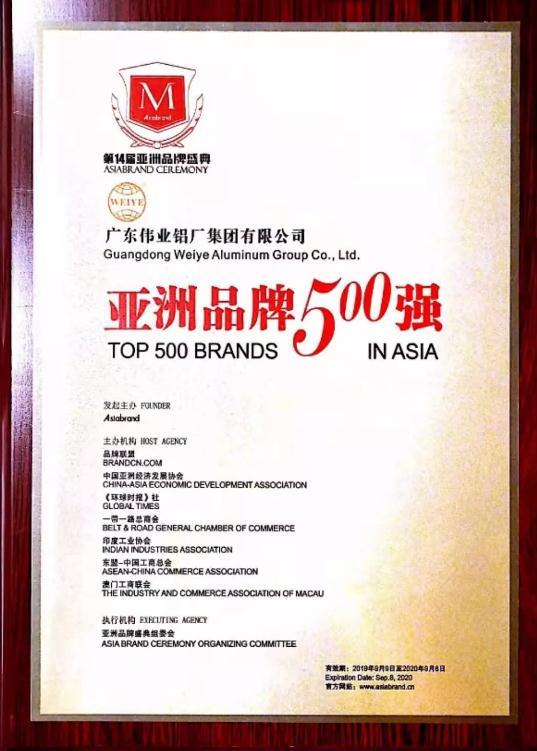 廣東偉業集團五次蟬聯亞洲品牌500強